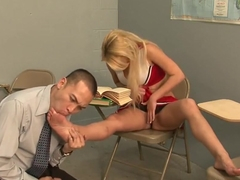 Blonde Cheerleader gets what she wants from the Teacher