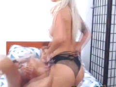Hot Blonde Babe Riding Boyfriend Cock