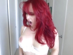 Kinky, red haired scientist, Andrea Rosu tested some potions on herself and got super horny