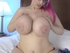 Pink haired chubby girl with huge fake tits