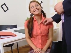 Pretty Schoolgirl Was Tempted And Pounded By Her Older Schoo