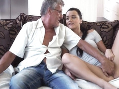 Grey-haired Gentleman With Glasses Gets Lucky