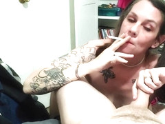 Sexy milf with pigtails smoking blowjob