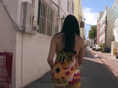 Megan Foxx gives a head to black dude outdoor