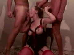 Wife in crotchless panties with 2 guys cocks