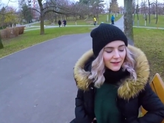 Cute teen swallows cum for cash - public blowjob in the park by Eva Elfie