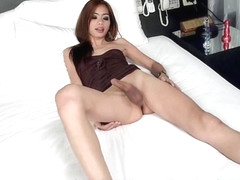 Ladyboy Wicky in Black Dress Bareback