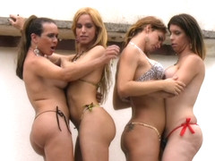 Latina t-girls fill spread anal holes with cock in orgy