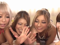 Naughty Japanese sex models enjoy gangbang action
