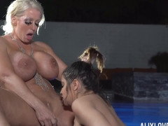 Alix Lovell and Alura Jenson fuck in the pool