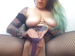 ElizabethHunny Sucks & Fucks Dildo In Bodystocking