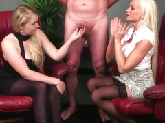 Cindy Sun and Mona Summers are giving blowjobs and handjobs to a guy who has hired them