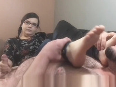Nerdy College Teen gives a Foot Smelling HandJob