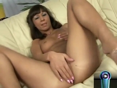 Tiny titted Angelina Crow puts cream on her delectable goodies