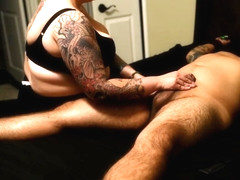 Blindfolded bondage GF gives blowjob fuck and post orgasm torture