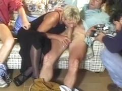 Ebony fuck slut gangbanged three horny guys