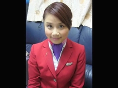 Hong Kong Airlines Lori face angel cabin attendant Joan of Dziga take bare oozed!