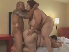 Alluring busty experienced woman having a good interracial fucking
