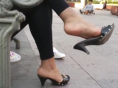 Sexy shoe dangling at park Candid Feet 29