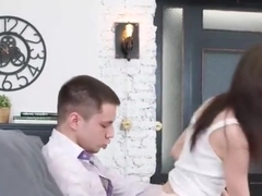 Admirable busty student Holly West is sucking cock hard