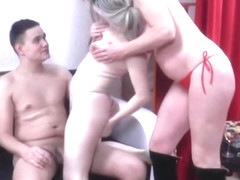 Threesome party in the backstage