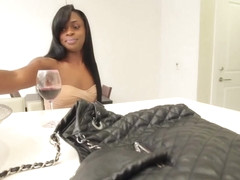 Black tgirl assfucked on her kitchen bench
