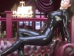 Brunette in Latex Catsuit