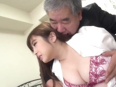 Japanese Girl fucked by an older man - Hair Fetish - Cum on Hair