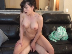Brunette gal with big boobies Amber Chase gets rammed at home like a total bitch