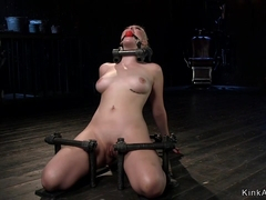 Blonde slave on knees and leaning back