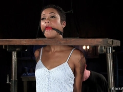 Strapped ebony slave gets ass whipped