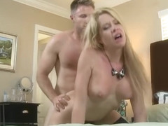 Handsome golden-haired experienced woman Desi Dalton is making a best blowjob of my life