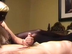 Masked Blonde Strokes A Cock Like Her Life Depends On It