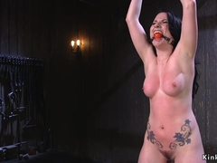 Babe in bondage gets dick on a stick