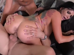 Busty Babes Romi Rain & Nina Elle Titty Fucked To The Extreme in Threesome