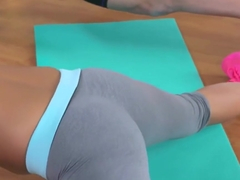Beautiful yoga babe spoon fucked by coach