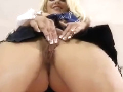School babe in stockings gets fucked