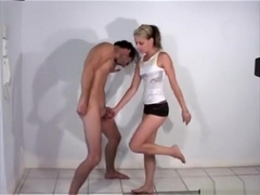 ballbusting knee by a hot girl