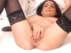 Sexy Romanian Cam girl with Stockings and Heels Strips and Spreads and Plays with Herself
