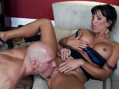 Comely busty maried female Lezley Zen giving a beautiful BJ