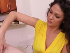 Busty Cougar Milf In Bra Jerking Dick