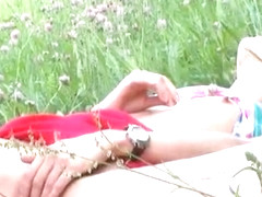 Delicate doll Natasha Shy masturbating shaved cunt outdoor