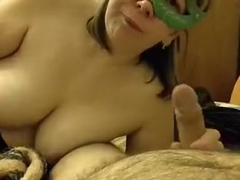 Shapely masked wife POV blowjob
