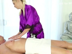 Blonde masseuse gets lick