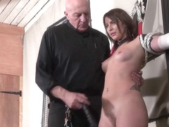 Amateur slave Lexis tit whipping and pussy spanking in bondage