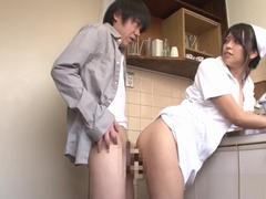 Natsume Eri Cosplay Nurse Fucked In The Kitchen Ass Ripples