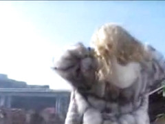 Hot tranny in fur outdoor solo