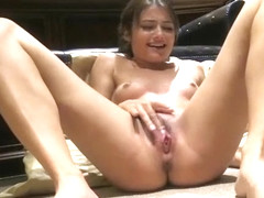 Sexy young amateur girl Adria rub her clit and pussy on her bedroom floor and reach intense orgasm
