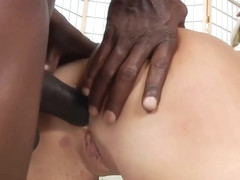 Curvy blonde milf with a big ass, Layla Price likes to take two hard, black dicks