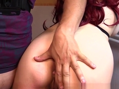 Horny Redhead gets HARDCORE MOUTHFUCK and ASSFUCK tied in a bathroom
